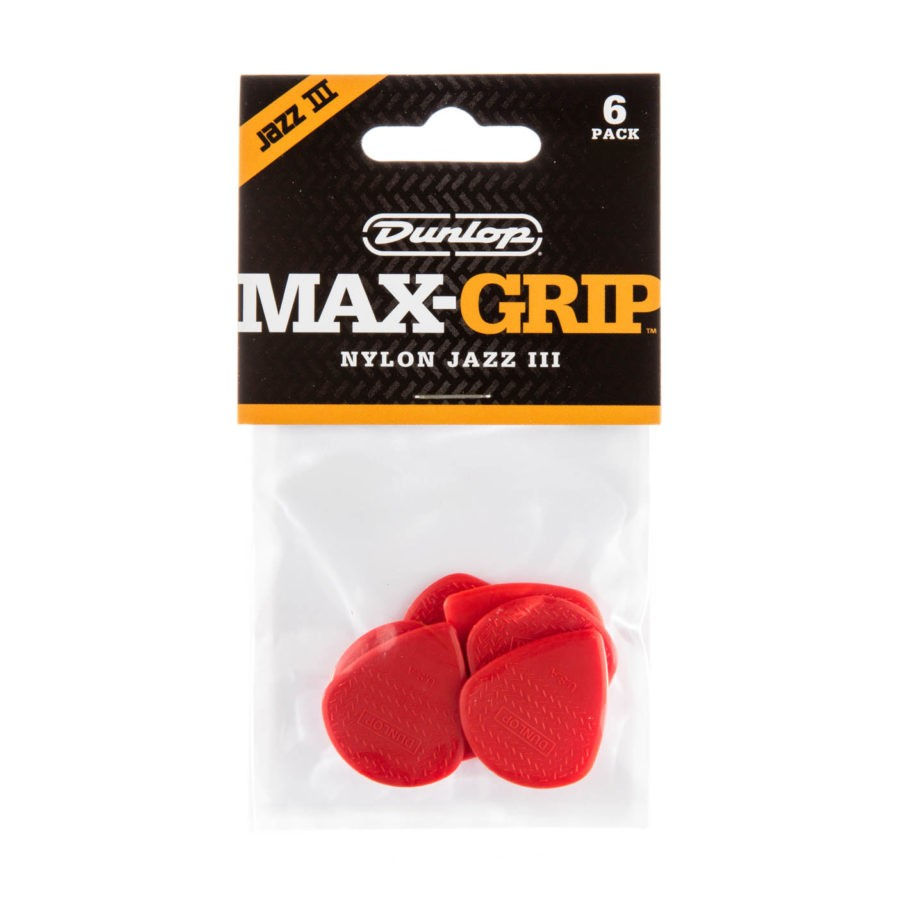 DUNLOP Mediators Max-Grip Jazz III x 6 Nylon