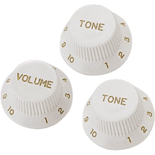 YELLOW PARTS Boutons De Reglages Strat Blanc