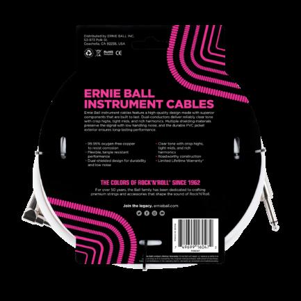 ERNIE BALL Cable Instrument Classic Jack Jack Coude 6 09 M Blanc