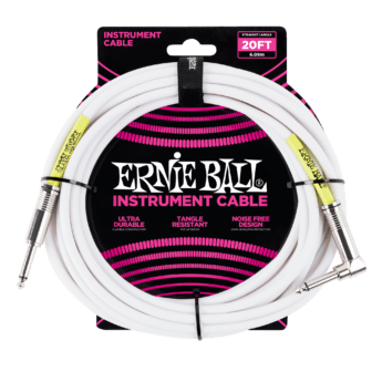 ERNIE BALL Cable Instrument Classic Jack Jack Coude 6 09 M Blanc
