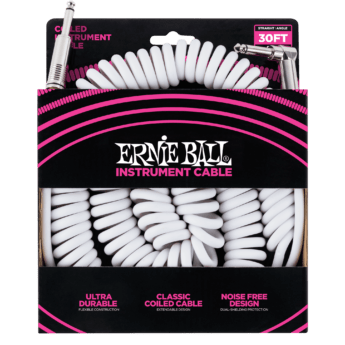 ERNIE BALL Cable Instrument Spirale Jack Jack Coude 9 14 M Blanc