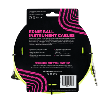 ERNIE BALL Cable Instrument Gaine Tressee Droit Coude 7 62 M Neon Jaune