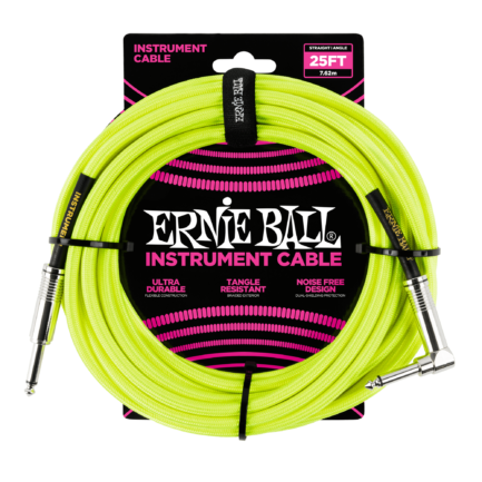 ERNIE BALL Cable Instrument Gaine Tressee Droit Coude 7 62 M Neon Jaune -