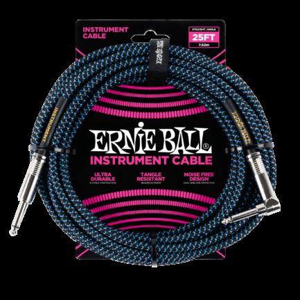 ERNIE BALL Cable Instrument Gaine Tressee Droit Coude 7 62 M Bleu
