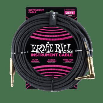 ERNIE BALL Cable Instrument Gaine Tressee Droit Coude 7 62 M Noir