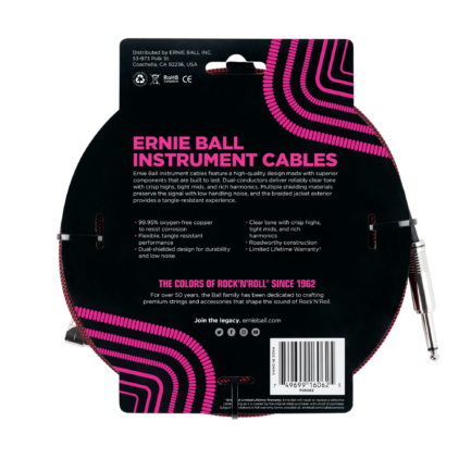 ERNIE BALL Cable Instrument Gaine Tressee Droit Coude 7 62 M Rouge