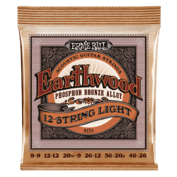 ERNIE BALL Cordes Acoustiques Earthwood Phosphor Bronze Jeu Light 12 Cordes 9 46