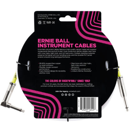 ERNIE BALL Cable Instrument Classic Jack Jack Coude 3 05 M Blanc