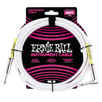 ERNIE BALL Cable Instrument Classic Jack Jack Coude 3 05 M Blanc