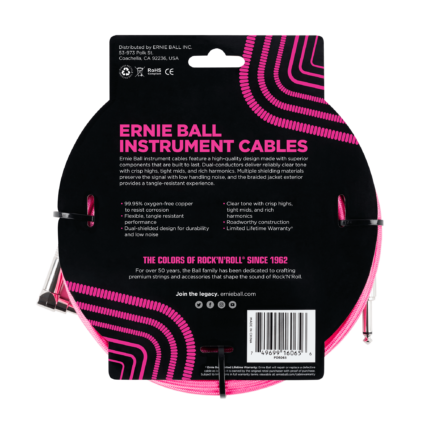 ERNIE BALL Cable Instrument Gaine Tressee Droit Coude 762 M Neon Rose