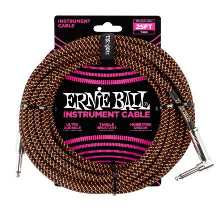 ERNIE BALL Cable Instrument Gaine Tressee Droit Coude 762 M Orange