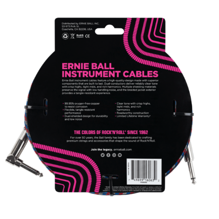 ERNIE BALL Cable Instrument Gaine Tressee Droit Coude 762 M Tricolore