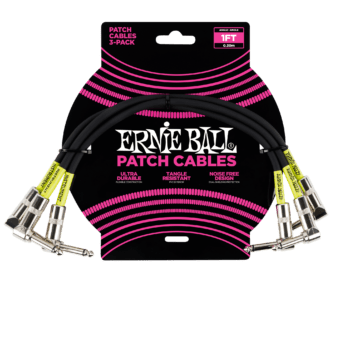 ERNIE BALL Cable Instrument Patch Noir Coude x 3 30 CM