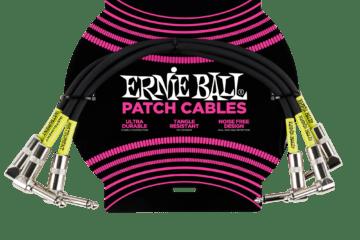 ERNIE BALL Cable Instrument Patch Noir Coude x 3 30 CM