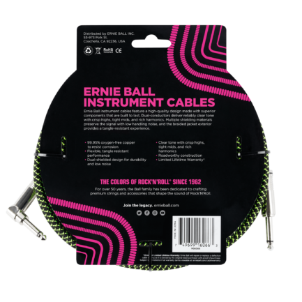 ERNIE BALL Cable Instrument Gaine Tressee Droit Coude 7 62 M Vert