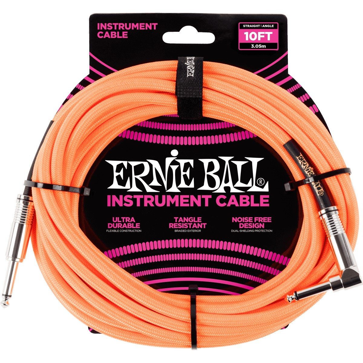 ERNIE BALL Cable Instrument Gaine Tressee Droit Coude 3 05 M Neon Orange