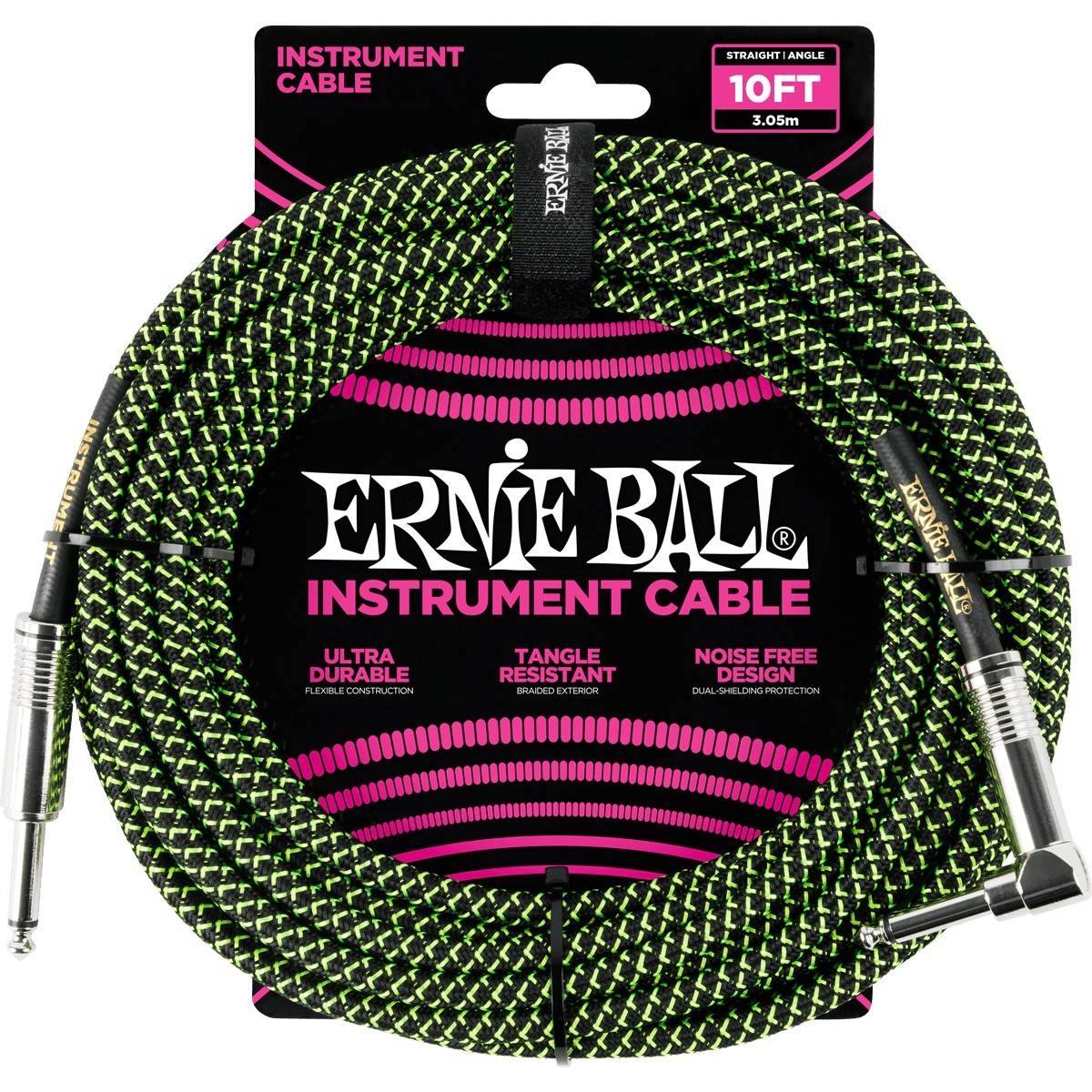 ERNIE BALL Cable Instrument Gaine Tressee Droit Coude 3 05 M Vert