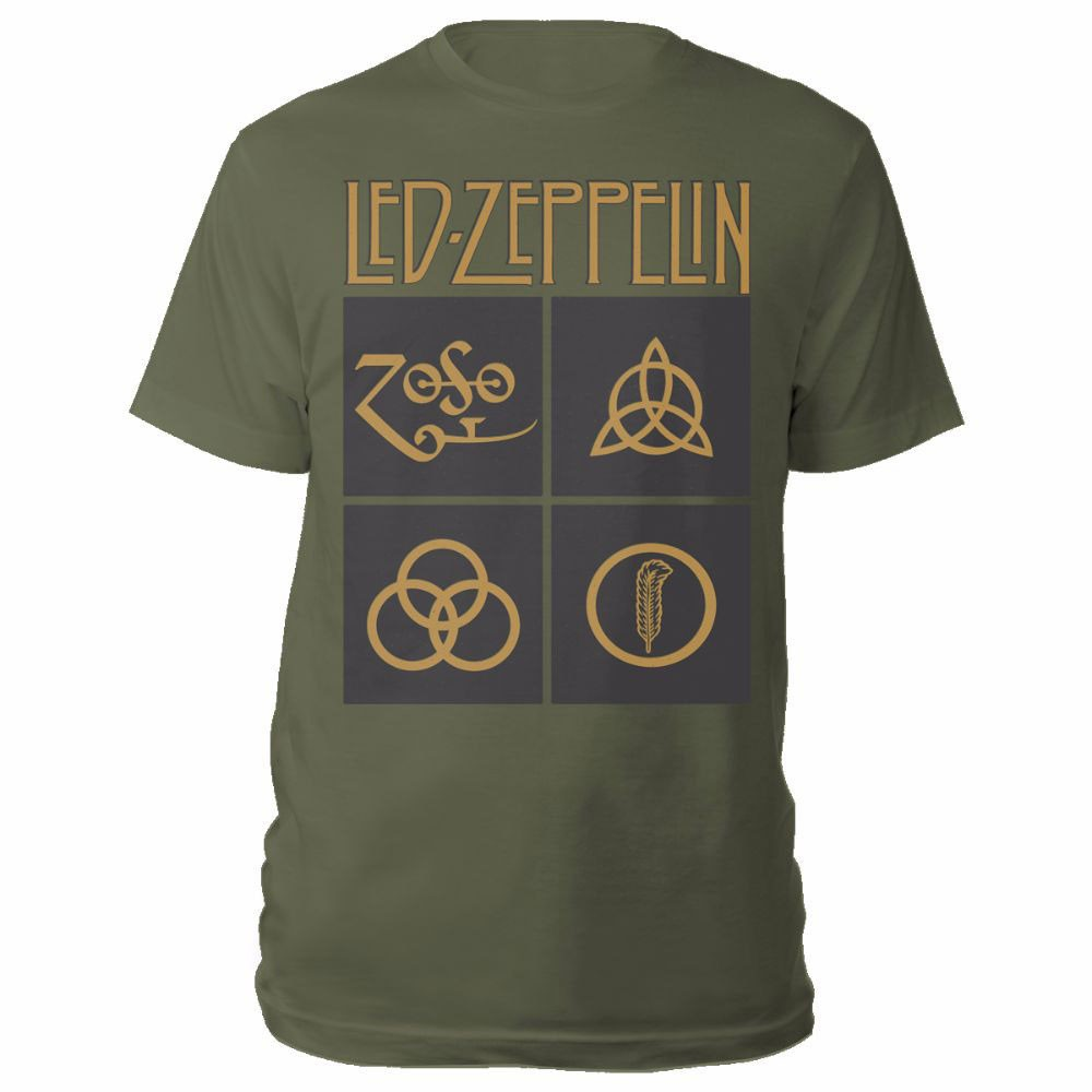 "LED ZEPPELIN ""Gold Symbols In Black Square"