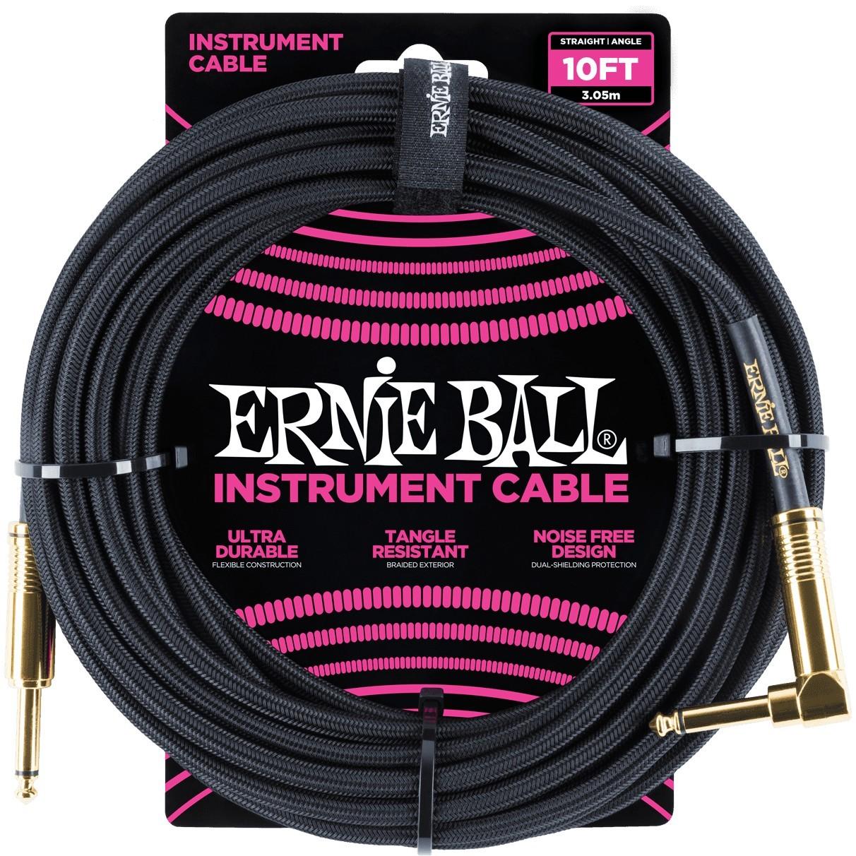 ERNIE BALL Cable Instrument Gaine Tressee Droit Coude 3 05 M Noir