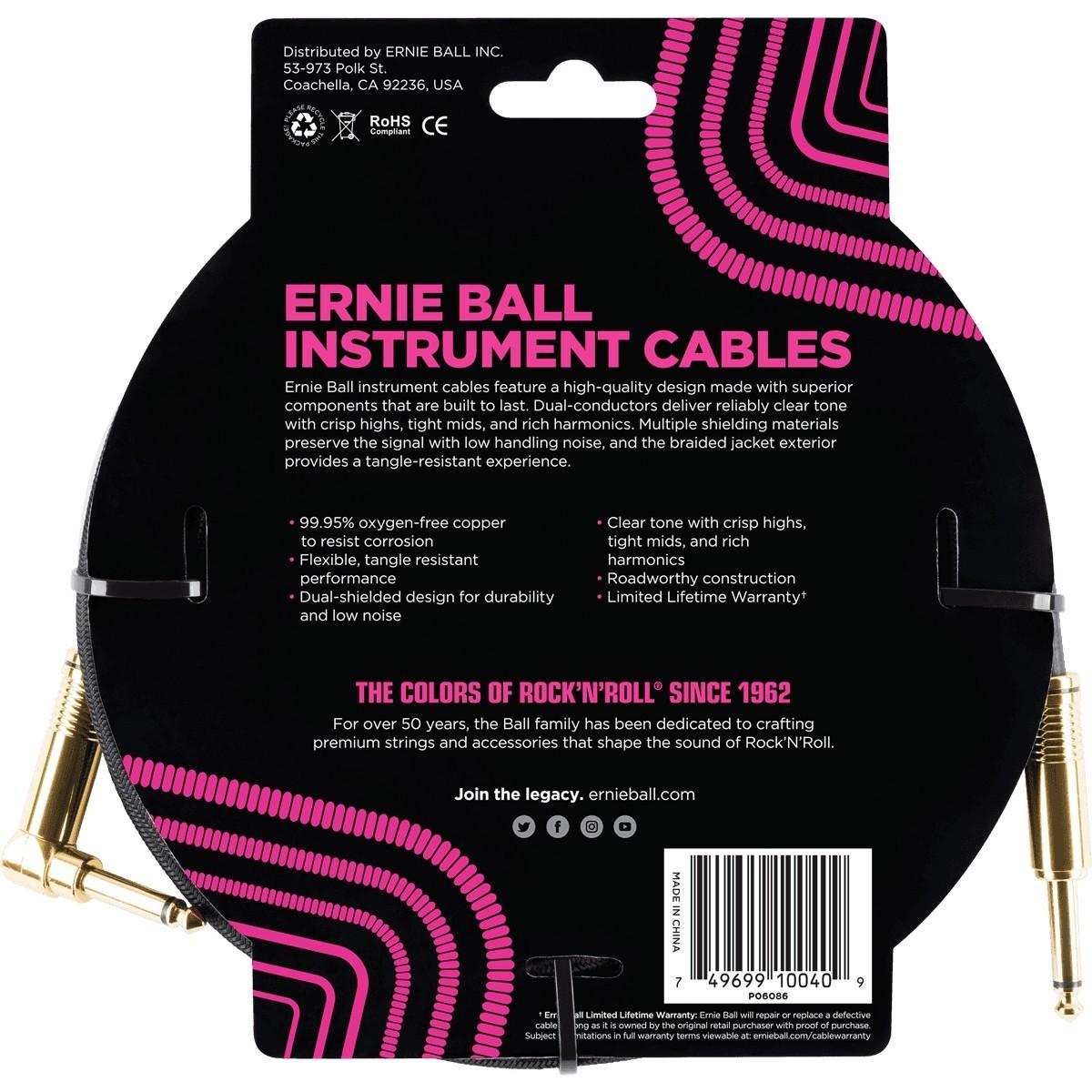 ERNIE BALL Cable Instrument Gaine Tressee Droit-Coude 5 49 M Noir