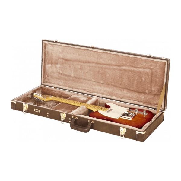 GATOR Etui Guitare Bois Deluxe GW Type Electrique Marron Vintage