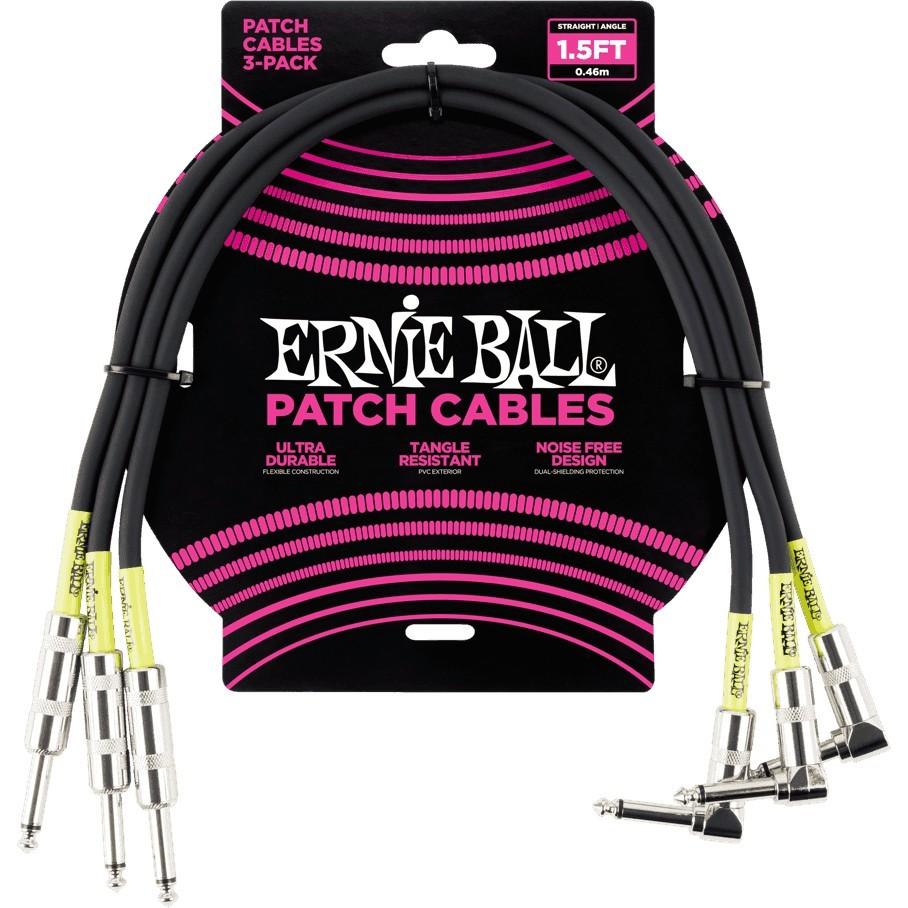ERNIE BALL Cable Instrument Patch Noir Droit Coudé
