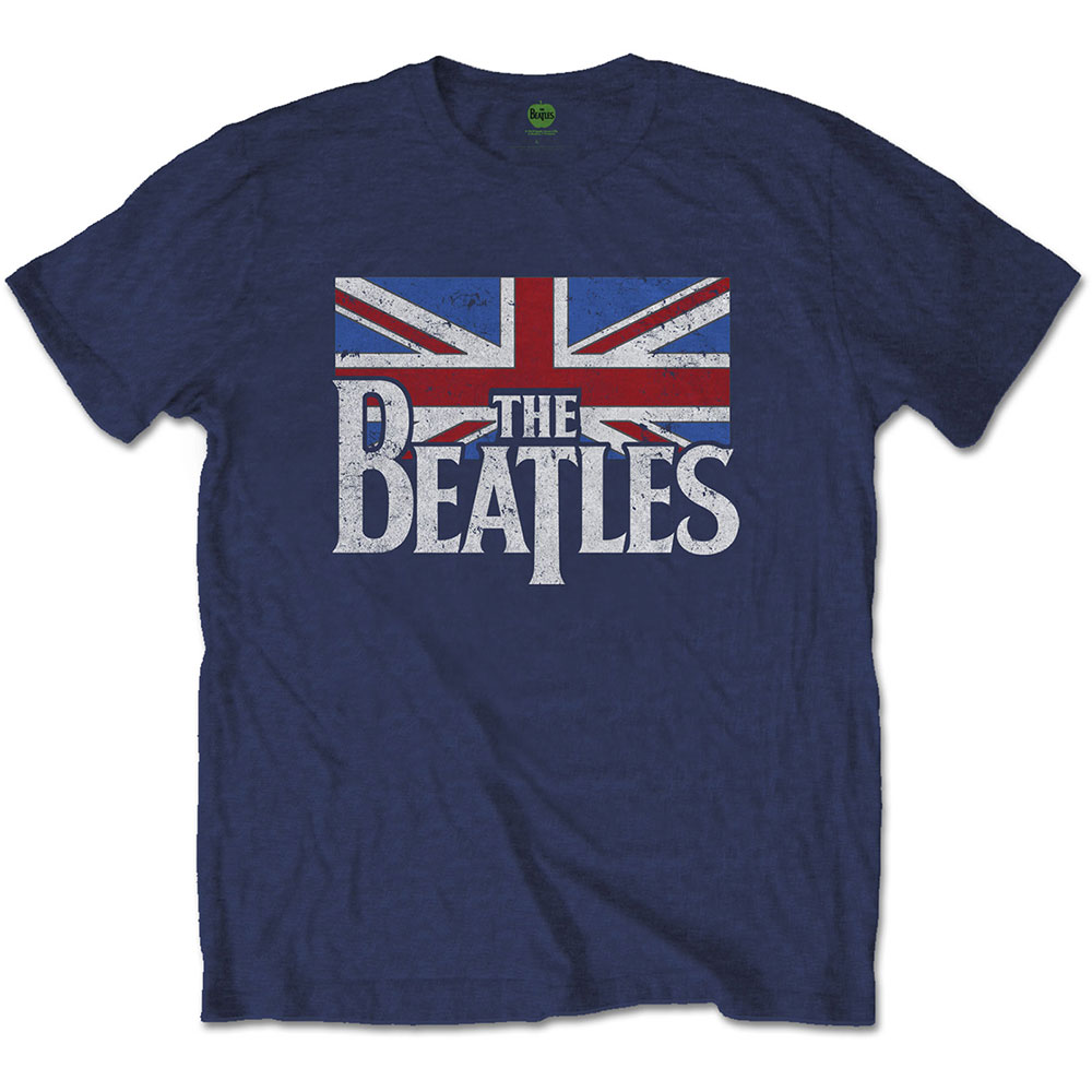 THE BEATLES Drop T Logo & Vintage Flag